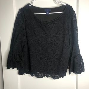 Black Lace Blouse with Bell Sleeves